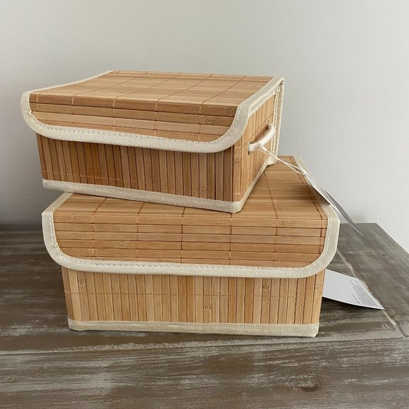 2 Natural Bamboo Storage Nesting Organizer Boxes